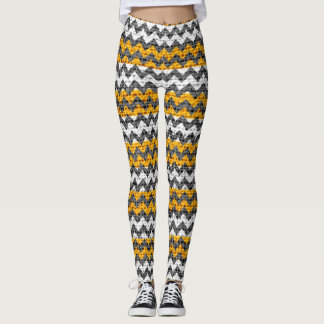 Yellow White Gray Chevron Pattern Burlap Look Leggings