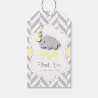 Yellow, White Gray Elephant Baby Shower Thank You Gift Tags