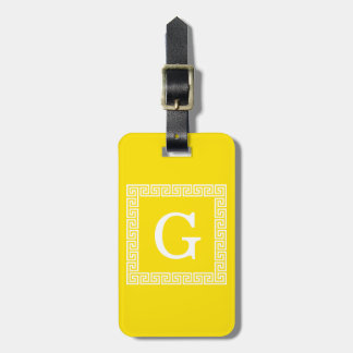Yellow White Greek Key Frame #1 Initial Monogram Luggage Tag