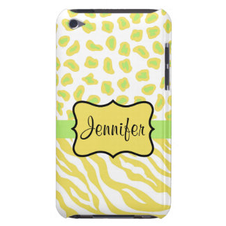Yellow White & Green Zebra & Cheetah Personallzed Case-Mate iPod Touch Case