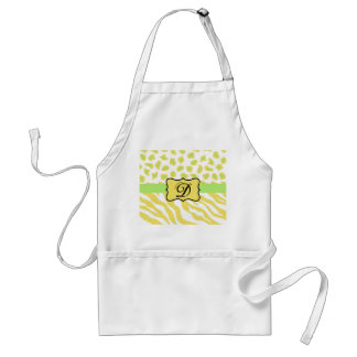 Yellow White & Green Zebra & Cheetah Personallzed Standard Apron
