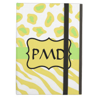 Yellow White Green Zebra Leopard Skin Personalized iPad Air Covers