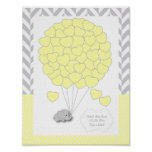 Yellow, White Grey Elephant Baby Shower - Guest Poster