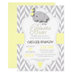 Yellow, White Grey Elephant ? Baby Shower Invitation