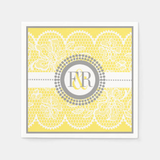 Yellow, white lace pattern wedding paper napkin