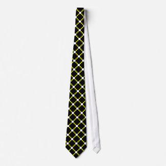 Yellow White Lattice Diamond Pattern on Black Tie