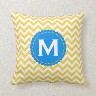 Yellow White Monogram Chevron Pattern Cushion