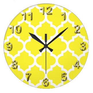 Yellow White Moroccan Quatrefoil Pattern #5 Clocks