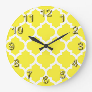 Yellow White Moroccan Quatrefoil Pattern #5 Large Clock