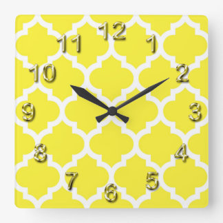 Yellow White Moroccan Quatrefoil Pattern #5 Square Wall Clock