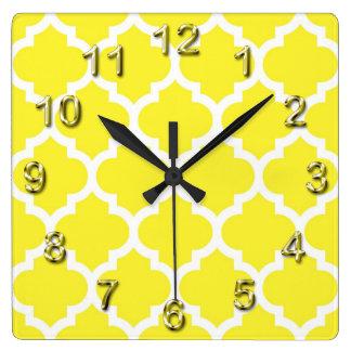 Yellow White Moroccan Quatrefoil Pattern #5 Wall Clocks