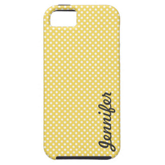 Yellow White Polka Dot Personalised Name iPhone 5 Covers