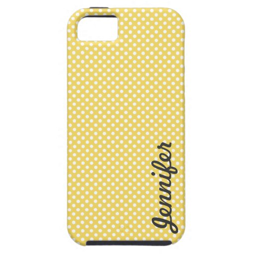 Yellow White Polka Dot Personalized Name iPhone 5 Cases