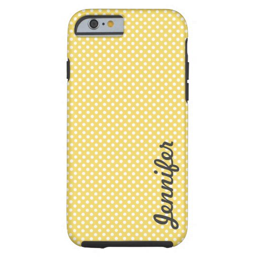 Yellow White Polka Dot Personalized Name iPhone 6 Case