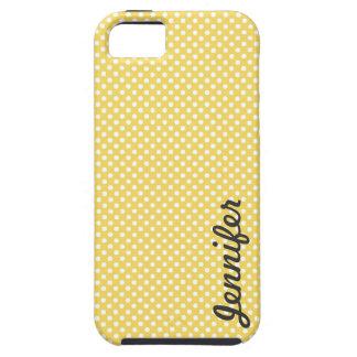 Yellow White Polka Dot Personalized Name Tough iPhone 5 Case