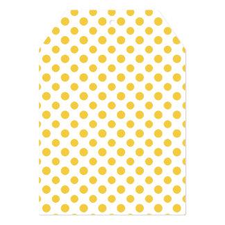 "Yellow White Polka Dots Pattern 5"" X 7"" Invitation Card"