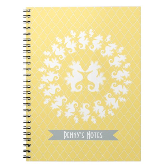 Yellow & White Seahorse Notebook