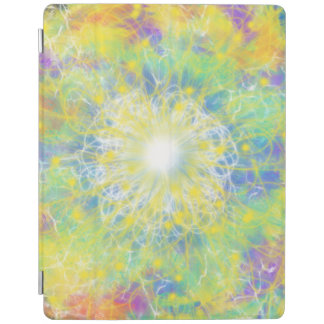 Yellow & White Star Aqua Blue Abstract Art Design iPad Cover