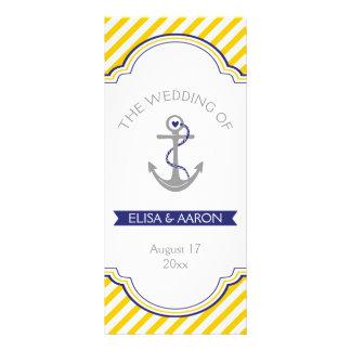 Yellow white stripes navy nautical wedding program rack card
