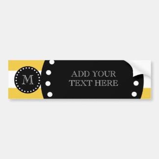 yellow White Stripes Pattern, Black Monogram Bumper Sticker