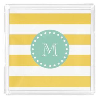 Yellow White Stripes Pattern, Mint Green Monogram Acrylic Tray