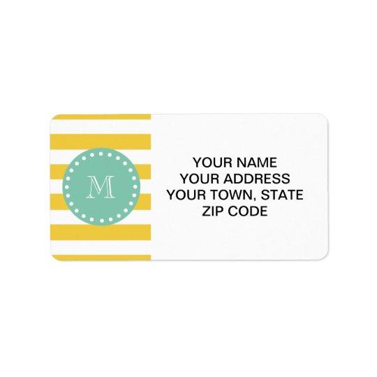 Yellow White Stripes Pattern, Mint Green Monogram Address Label