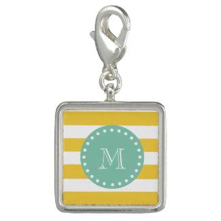 Yellow White Stripes Pattern, Mint Green Monogram Bracelet