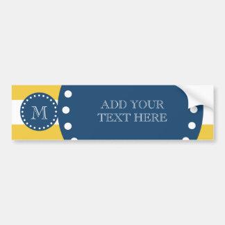 Yellow White Stripes Pattern, Navy Blue Monogram Bumper Sticker