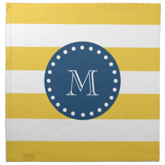 Yellow White Stripes Pattern, Navy Blue Monogram Napkin