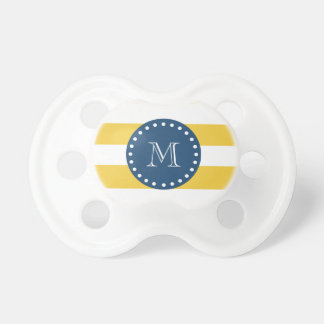 Yellow White Stripes Pattern, Navy Blue Monogram Pacifiers