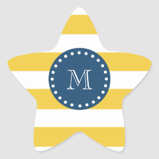 Yellow White Stripes Pattern, Navy Blue Monogram Star Sticker