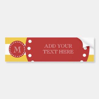 Yellow White Stripes Pattern, Red Monogram Bumper Sticker