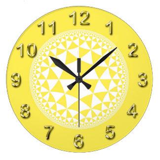 Yellow & White Triangle Filled Mandala Large Clock