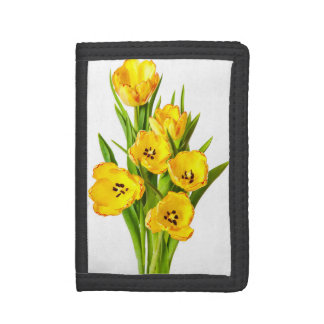 Yellow White Tulip Flowers Tulips Flower Floral Tri-fold Wallets