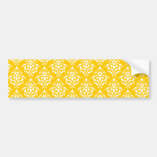 YELLOW WHITE VINTAGE DAMASK PATTERN 1 BUMPER STICKER