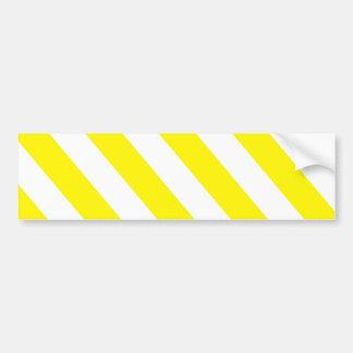 Yellow White Warning Stripes Bumper Sticker