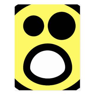 Yellow Whoa Open Mouth Smiley Face Postcard