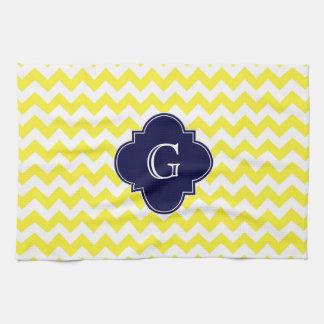 Yellow Wht Chevron Navy Blue Quatrefoil Monogram Kitchen Towels
