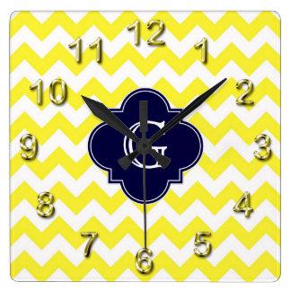 Yellow Wht Chevron Navy Blue Quatrefoil Monogram Square Wall Clock