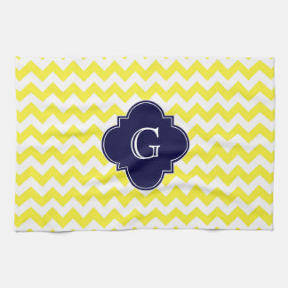 Yellow Wht Chevron Navy Blue Quatrefoil Monogram Tea Towel