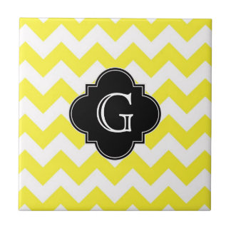 Yellow Wht Chevron ZigZag Blk Quatrefoil Monagram Small Square Tile
