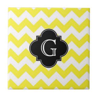 Yellow Wht Chevron ZigZag Blk Quatrefoil Monagram Tile