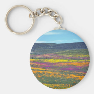 Yellow Wildflower field flowers Basic Round Button Key Ring