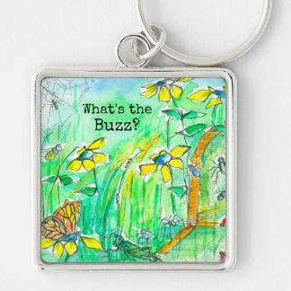Yellow Wildflowers Bees What's The Buzz Silver-Colored Square Key Ring