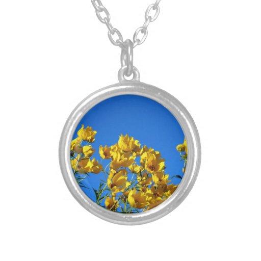 Yellow Wildflowers Bright Sky Custom Necklace