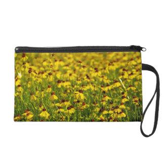 Yellow Wildflowers Floral Photo Wristlet Clutch