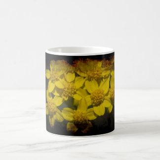 Yellow Wildflowers on Black Coffee Mug