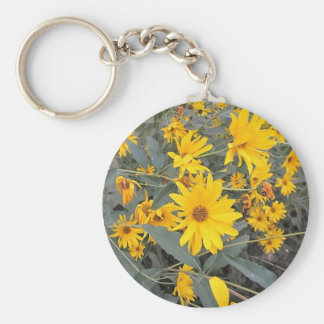 Yellow Wildflowers Photo Basic Round Button Key Ring