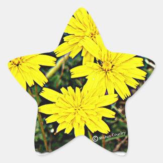 Yellow Wildflowers Star Sticker