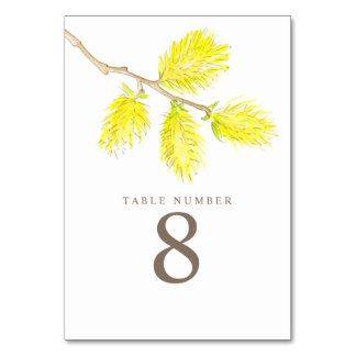 Yellow willow catkins watercolor art table numbers table cards